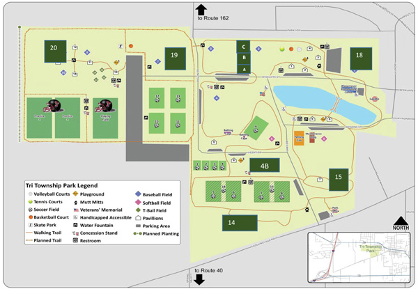 Map of Tri-Township Park in Troy IL