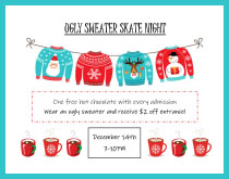 View the Flyer for the Ugly Sweater Skate Night at the Tri-Township Park Activity Center
