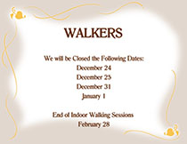 View the Flyer for Indoor Walking Closed at the Tri-Township Park Activity Center